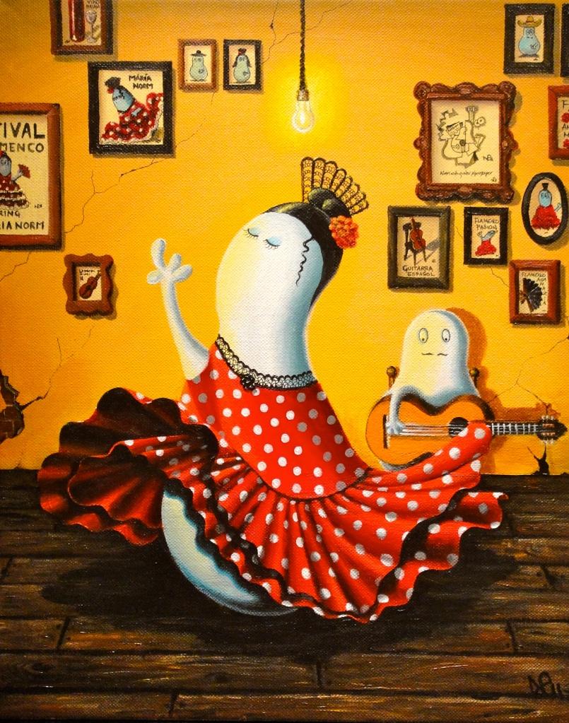 Flamenco Norm (2011 © Nicholas de Lacy-Brown, acrylic on canvas)