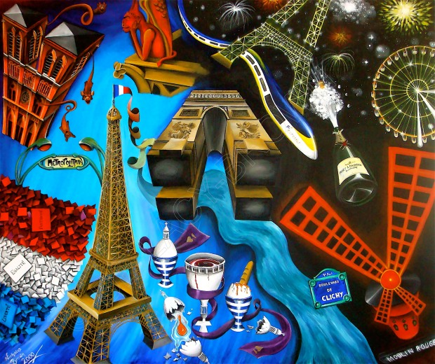 Le Paris Formidable (2000, acrylic on canvas) © Nicholas de Lacy-Brown