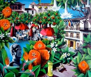 Orange Square (2002 © Nicholas de Lacy-Brown, acrylic on canvas)