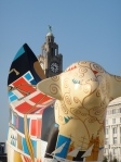 The Lambanana in front of Liverpool's famous Liver building