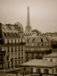 Back in Paris - the majestic Tour Eiffel rises above Parisian rooftops