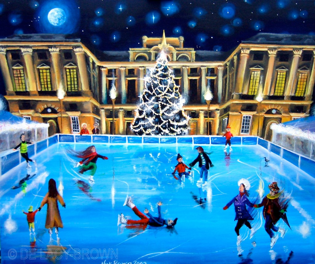 Ice Skating at Somerset House (acrylic on canvas, 2002 © Nicholas de Lacy-Brown)