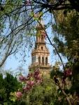 A tower of the Plaza de España seen from the Parque Maria Luisa