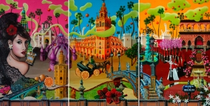 Seville Triptych - the complete triptych (Oil on canvas, 2010 © Nicholas de Lacy-Brown)