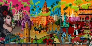 Seville Triptych - the complete triptych (Oil on canvas, 2010 © Nicholas de Lacy-Brown)