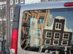 Van reflecting old Amsterdam