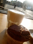 Cappuccino and an unctuous cinnamon muffin