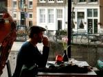 Enjoying tea at the Anne Frank house