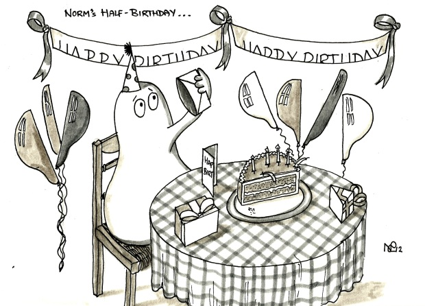 Norm's Half Birthday - Norm looks for the other half of his card (2012 © Nicholas de Lacy-Brown)