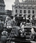 Le bazier de l'opera (after Doisneau) (acrylic on canvas, 2012 © Nicholas de Lacy-Brown)