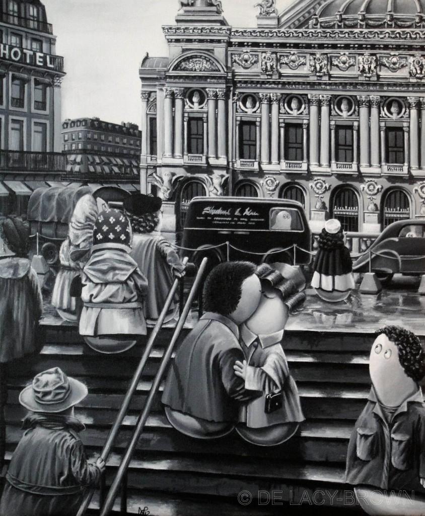 Le bazier de l'opera (after Doisneau) (acrylic on canvas, 2012 © Nicholas de Lacy-Brown)