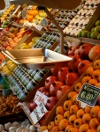 Multicoloured offerings in the Mercado San Miguel