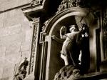 Saint Sebastian, lampooned by pigeons