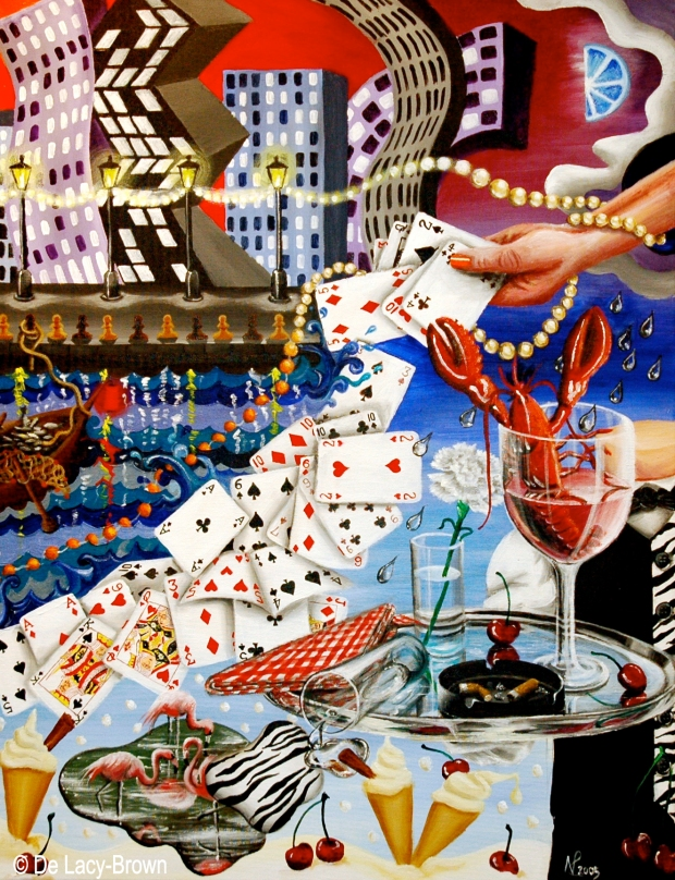 Joie de Vivre/ Zest of Life 3: Casino Nights (2005 © Nicholas de Lacy-Brown, acrylic on canvas)