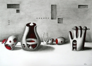 Deconstructed Norm Sculptures in a Setting (after Henry Moore) © 2012, Nicholas de Lacy-Brown, pen, pencil and watercolour on paper