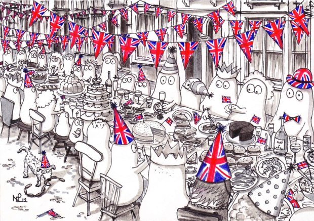 The Norms' Diamond Jubilee Street Party (2012 © Nicholas de Lacy-Brown) (Pen and pencil on paper)