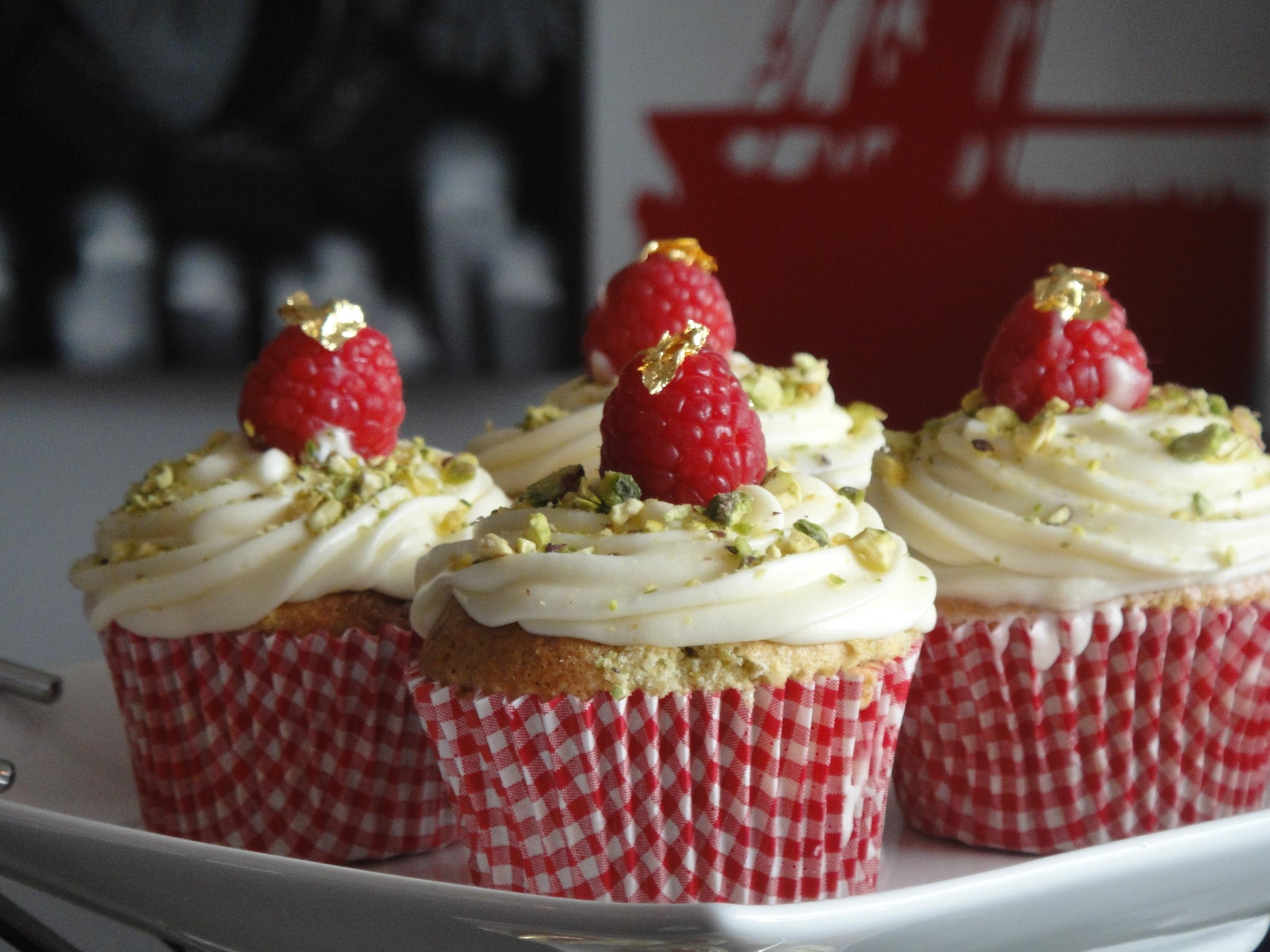 Pistachio Cupcakes With Raspberries Recipes — Dishmaps