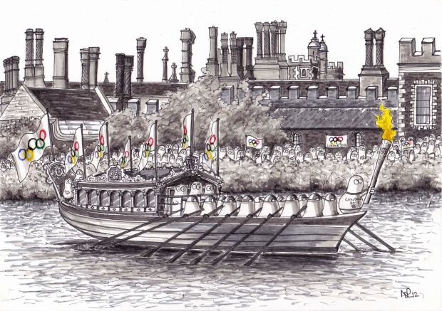 Norms at London 2012: The Torch's final journey (2012 © Nicholas de Lacy-Brown, pen on paper)