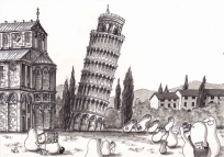 Norms in Pisa (2012 © Nicholas de Lacy-Brown, pen and ink on paper)
