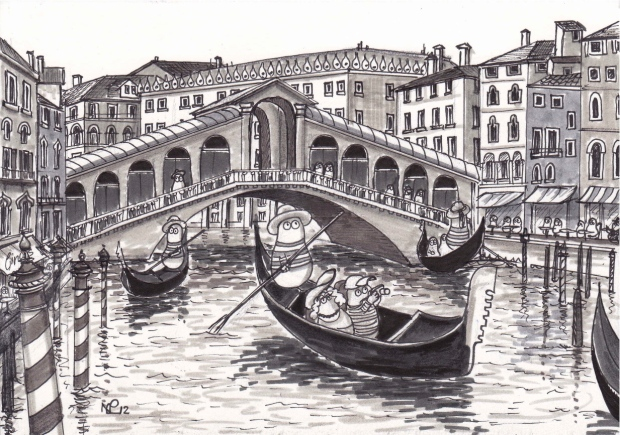Norms in Venice (2012 © Nicholas de Lacy-Brown, pen and ink on paper)