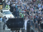 Olympic torch handover in Parliament square - with Ban Ki moon as torchbearer
