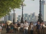 The bustling southbank (and a mascot in the distance)