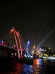 The Thames bridges are lit up to spectacular effect