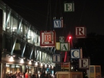 Cubes suspended in mid air on the south bank spelling out words, but only from certain angles