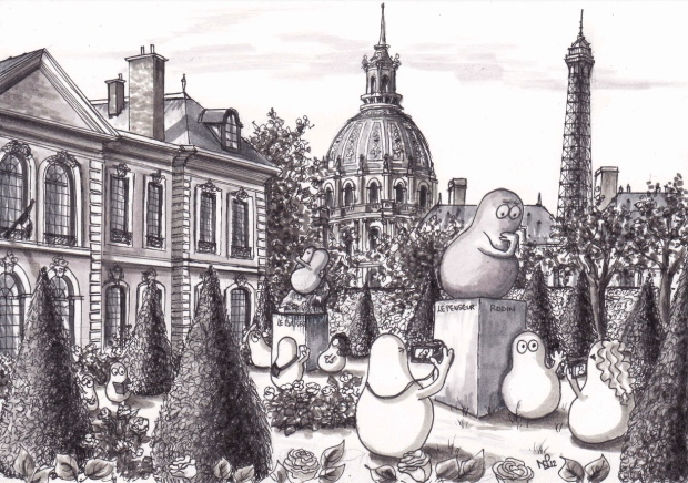 Norms at the Musée Rodin, Paris (2012 © Nicholas de Lacy-Brown, pen on paper)