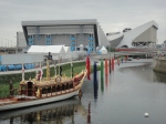 "The Jubilee ""Gloriana"" barge, the water polo stadium and the Aquatics centre"