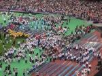 The athletes enter the stadium