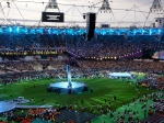 The stadium warms up for a huge show