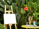 My canvas set up and ready in our little patio garden
