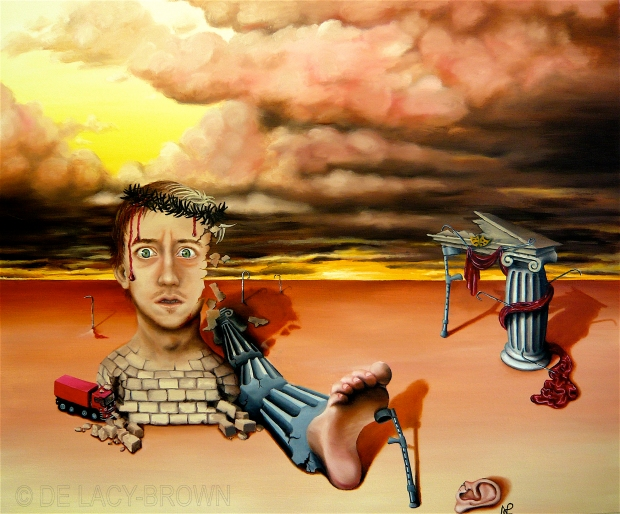 Bricks and Stones May Break My Bones (The Show Must Go On) 2008 © Nicholas de Lacy-Brown, oil on canvas (130cm x 110cm)