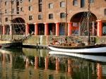 The familiar red pillars of the redeveloped Albert Docks