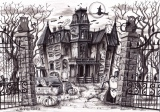 Norms at the Halloween House of Horrors (2012 © Nicholas de Lacy-Brown, pen on paper)