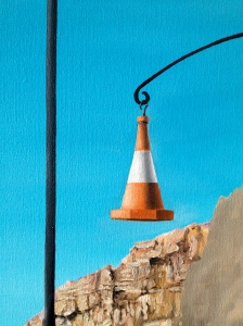 A traffic cone now hangs on my autobiographical mobile