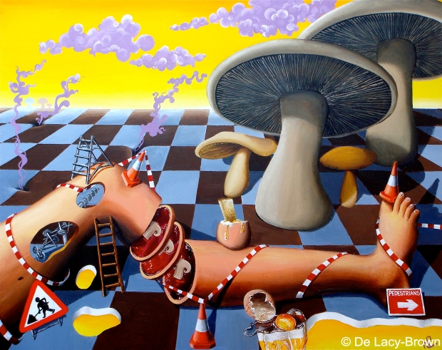 La Marcha de los Champiñones (2009 © Nicholas de Lacy-Brown, acrylic on canvas)
