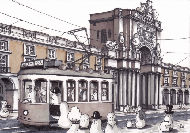 Norms on a Tram in the Praça do Comércio, Lisbon (2012 © Nicholas de Lacy-Brown, pen on paper)