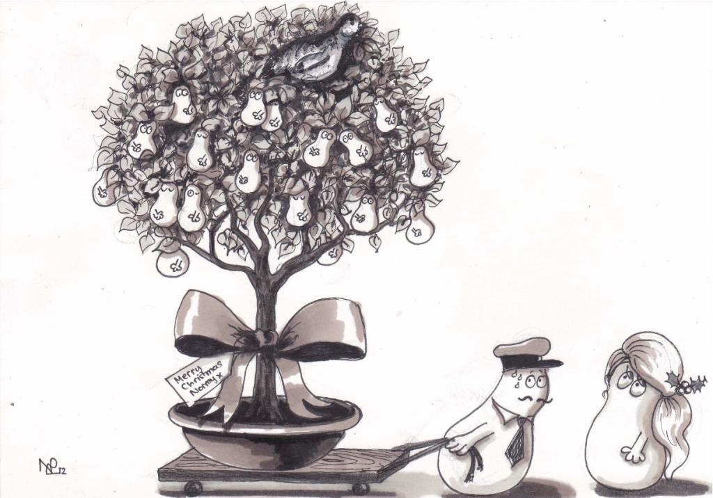 A partridge in a Norm-pear tree (2012 © Nicholas de Lacy-Brown, pen on paper)