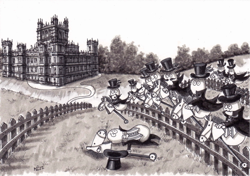 On the 10th day of Christmas my Normy gave to me, 10 Lords a-leaping (2012 © Nicholas de Lacy-Brown, pen on paper)