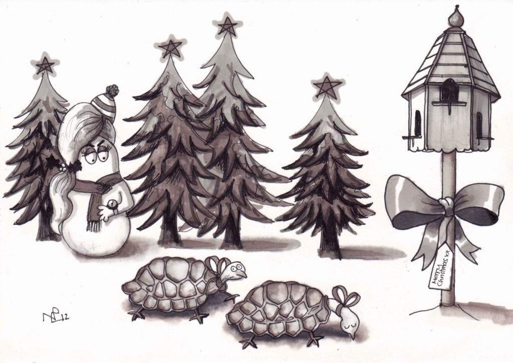 On the second day of Christmas my Normy gave to me...Two turtle doves (2012 © Nicholas de Lacy-Brown, pen on paper)