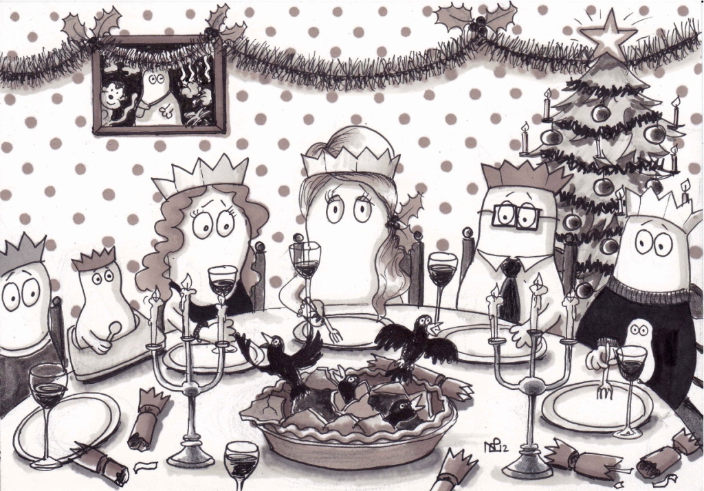 On the 4th day of Christmas my Normy gave to me 4 colly birds (2012 © Nicholas de Lacy-Brown, pen on paper)