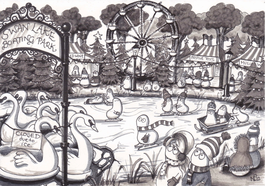 On the 7th day of Christmas my Normy gave to me, 7 swans a-swimming (2012 © Nicholas de Lacy-Brown, pen on paper)