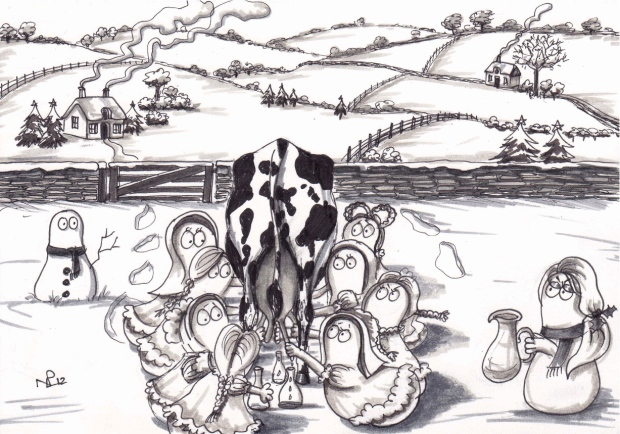 On the eight day of Christmas my Normy gave to me 8 maids a-milking (2012 © Nicholas de Lacy-Brown)