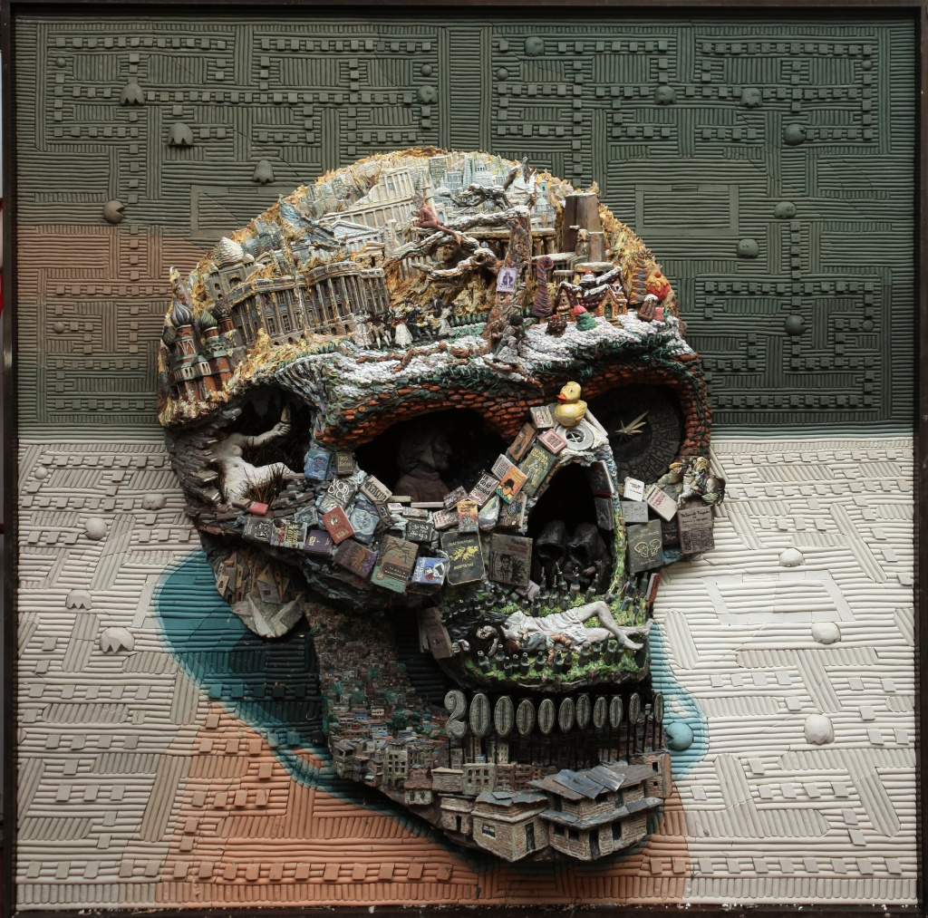 Mondongo Collective, The Skull Series. Number eight from a series of 12. Plasticine