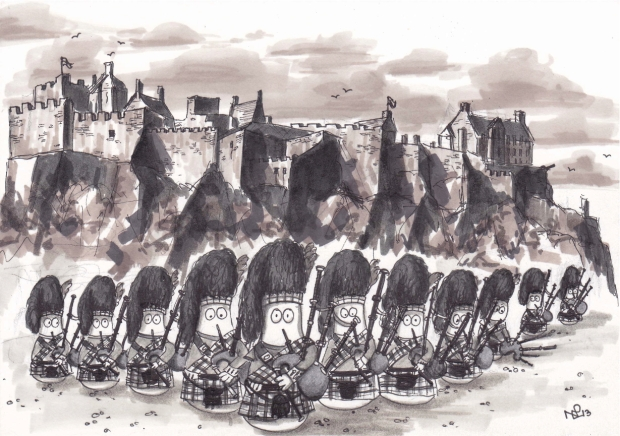 On the eleventh day of Christmas, my Normy gave to me, 11 pipers piping (© Nicholas de Lacy-Brown, pen on paper)
