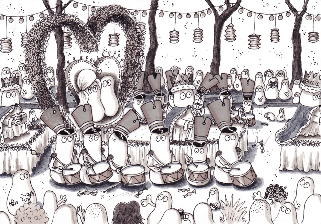 On the Twelfth day of Christmas, my Normy gave to me, 12 drummers drumming (© Nicholas de Lacy-Brown, pen on paper)