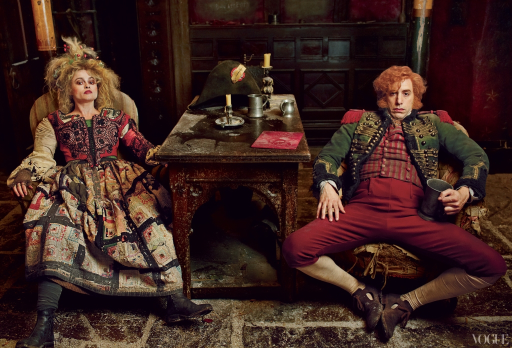Thénardier and his wife (Helena Bonham Carter and Sacha Baron Cohen)