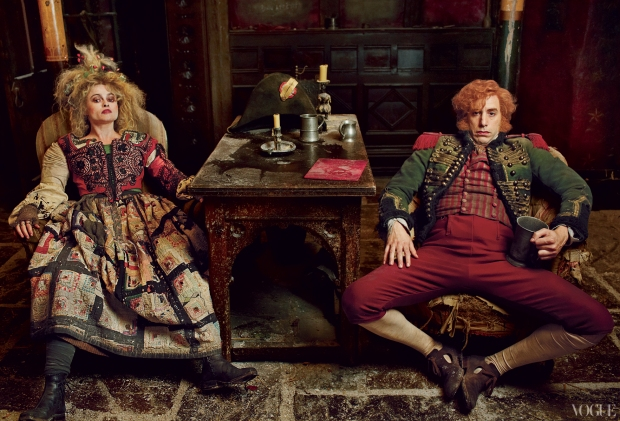 Thénardier and his wife (Helena Bonham Carter and Sacha Baron Cohen)